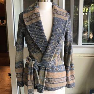True grit fleece cardigan Aztec Navajo pattern